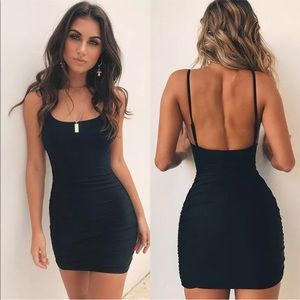 Little mini black tank sexy club casual slip dress